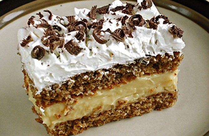 45685b1a7b502 Piškótový koláč s orechovým krémom - Receptik.sk