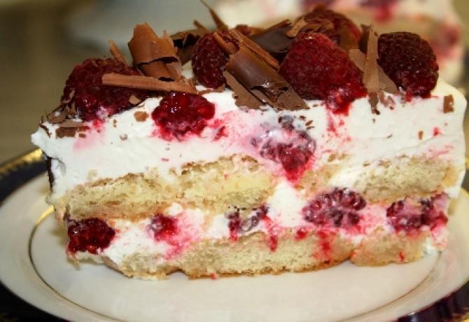 Malinová torta bez pečenia