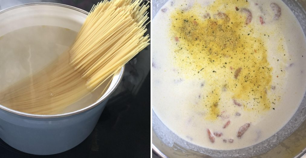 Špagety so smotanovo-syrovou omáčkou skrevetami